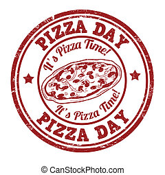 Pizza day stamp - Pizza day grunge rubber stamp on white,...