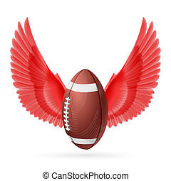 Flying ball - Realistic ball for American football with red...