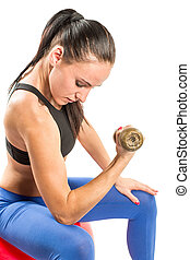 Fitness woman exercising with barbells workout in the gym on isolated white background. Sport