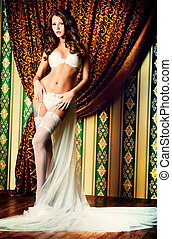 underwear - Attractive young woman alluring in sexual white...