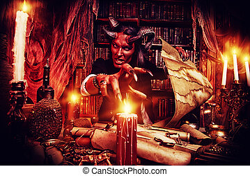 manuscripts - Horned Devil in his home Fantasy Ancient style...