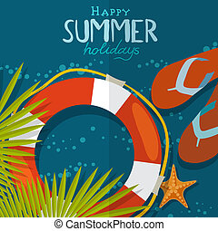 Summer Beach Background. Vector Illustration. Eps 10