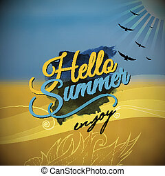 Hello Summer Vector blurred background - Hello Summer...