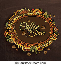 Coffee time decorative border label design. Vector...