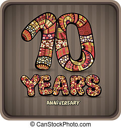 10 years anniversary decorative hand lettering vector card