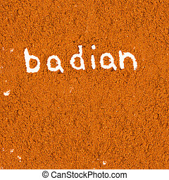 Badian - Abstract background made of badian powder with text