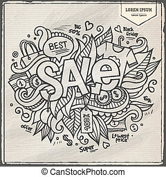 Sale hand lettering and doodles elements