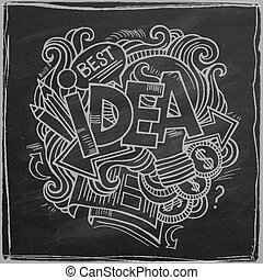 Idea hand lettering On Chalkboard - Idea hand lettering and...