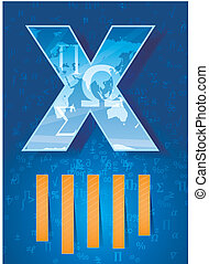 X letter abstract with math symbols