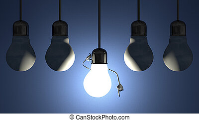 Light bulbs in sockets, moment of insight on blue - Glowing...