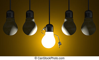 Light bulbs in sockets, moment of insight on yellow -...