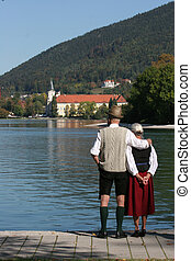 old couple - old couple standing at the Tegernsee