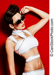 girl swimsuit model sunglasses studio