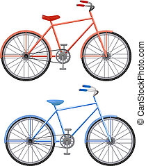 two bikes on a white background