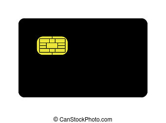 Blank credit card - Blank black credit card with gold EMV...