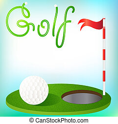 background golfing ball in the grass and the flag -...