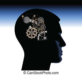 abstract thinking mechanical mechanical mind thoughts head