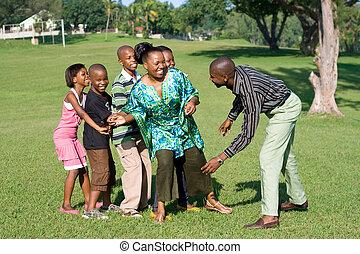 família, junto, parque, tocando