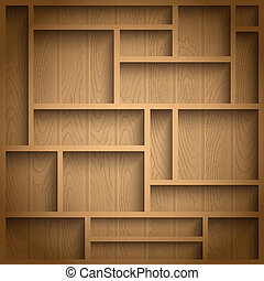 Wooden shelves - Empty wooden shelves, photo realistic...