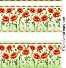 background with poppy flowers and place for text