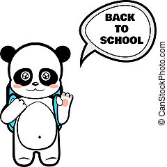 Panda schoolboy with a backpack going back to school on a...
