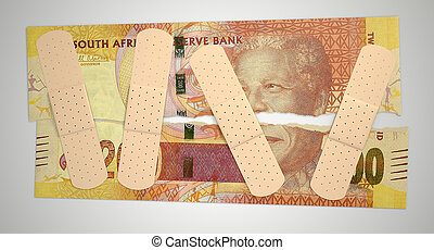 Nursed Torn South African Rand - A concept picture of a...
