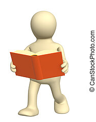 3d puppet, reading the book on the move - Puppet, reading...