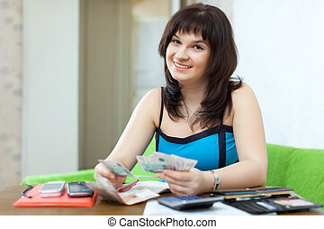 Housewife calculates the family budget at home