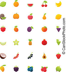 Fruits icon set - Set of the fruits related icons