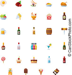 Food and drinks icon set - Set of the food and drinks...