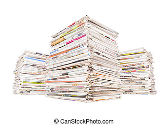 Three big stacks of newspapers isolated on white