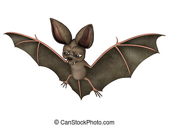 Bat - 3D digital render of a funny cartton bat isolated on...