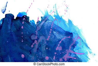 Blue Paint Background - Abstract grunge gouache paint...