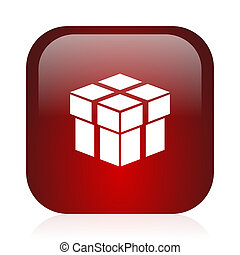 box icon - square red glossy icon
