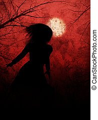 Halloween Night Girl - Woman in leather coat on red...