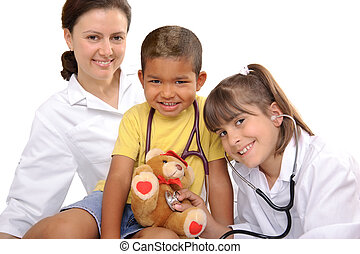 childrens doctor - female doctor playing with the children