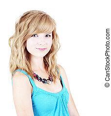 High key of blond - High key portrait of beautiful young...