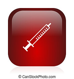 medicine icon - square red glossy icon