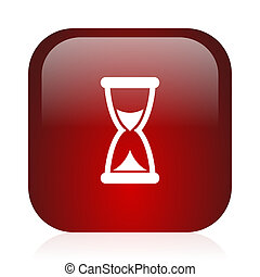 time icon - square red glossy icon