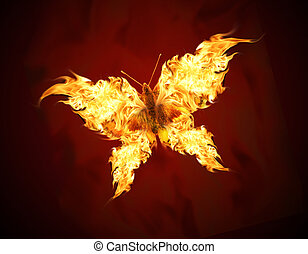 Flying butterfly with fiery wings