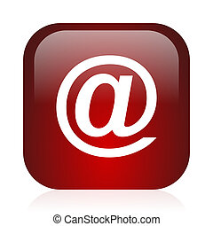 email icon - square red glossy icon
