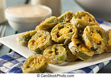 Unhealthy Fried Jalapeno Slices with Dipping Sauce