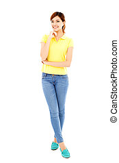 smiling young woman standing isolated on white background