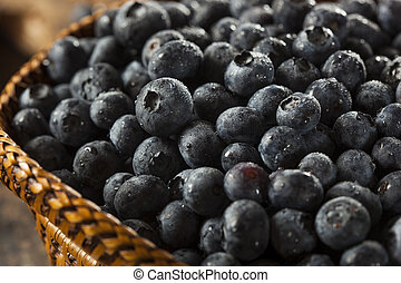 Fresh Organic Raw Blueberries in a Basket