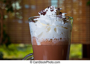 Coffee mocha with whipped cream and chocolate