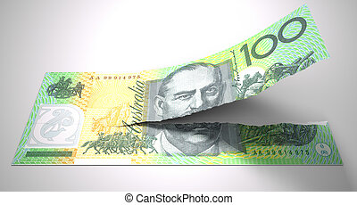 Tearing Australian Dollar Note - A concept picture of a...