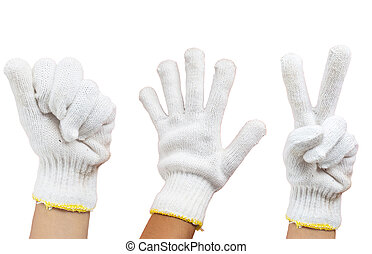 Roshambo with fabric gloves in hand on white background