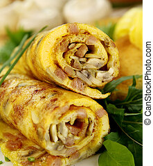 Rolled Omelette - Delicious rolled mushroom and bacon...