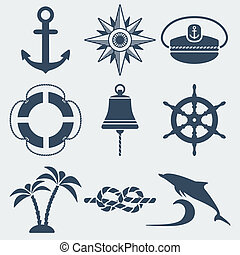 nautical marine icons set - vector illustration eps 8