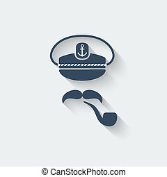 Captain mustache pipe design element - vector illustration....